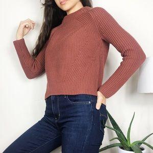 Athleta Rockland Crop Sweater Burnt Orange